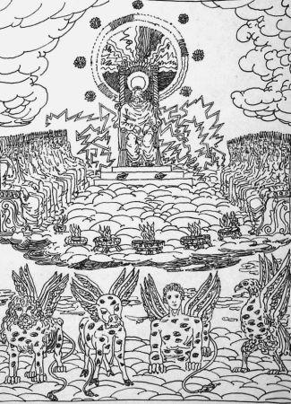 Lithograph De Chirico - ...Ed ecco un trono stava nel cielo...