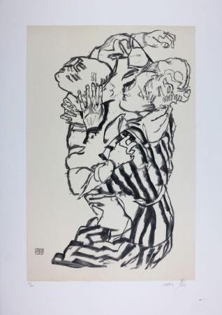 Lithograph Schiele - EDITH SCHIELE and nephew / EDITH SCHIELE und Neffe / EDITH SCHIELE & son neveu - 1915