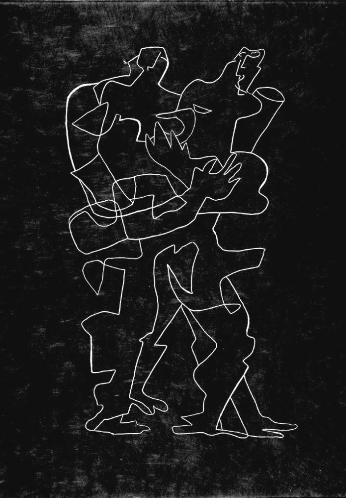 Engraving Zadkine - Efant aux mains coupées parmi les poses oriflammes