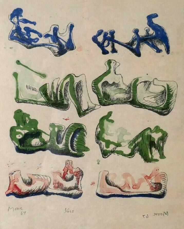 Lithograph Moore - Eight Reclining Figures