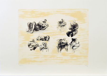 Lithograph Moore - Eight sculptural ideas, girl writing