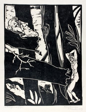 Woodcut Ehmsen - Ein Bangen Und Zagen (Being Anxious And Hesitant)