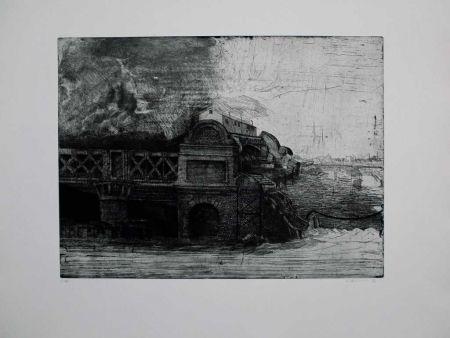Etching And Aquatint Ackermann - Eisenbahnbrücke / Railroad Bridge
