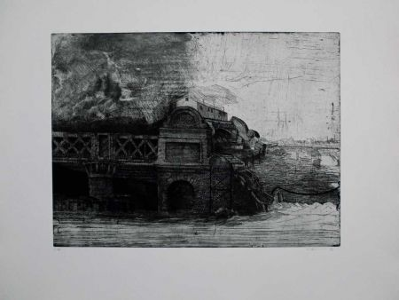 Etching And Aquatint Ackermann - Eisenbahnbrücke / Railroad Bridge