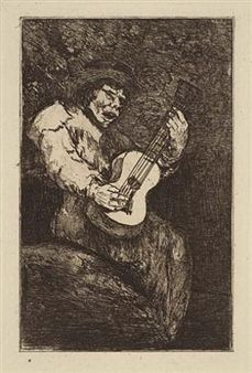 Etching And Aquatint Goya - El cantor ciego / The Blind Singer