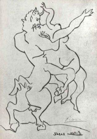 Drypoint Picasso - El rapto de Jezabel por Quirón El Centauro I
