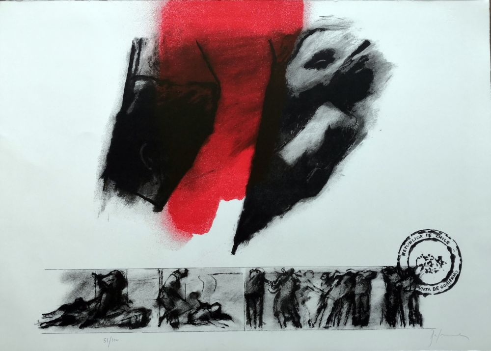 Lithograph Balmes - El rojo gota a gota va naciendo
