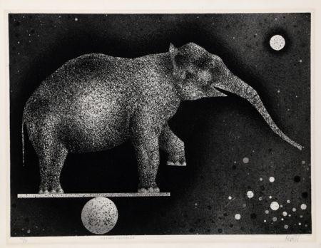 Mezzotint Avati - Elephant Equilibriste