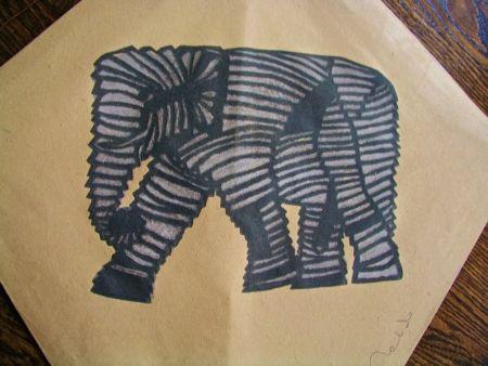 Screenprint Toledo - Elephant kite II
