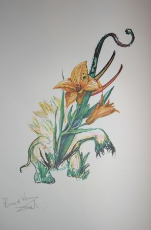 Lithograph Dali -  Elephant Lily (surrealistic flowers)