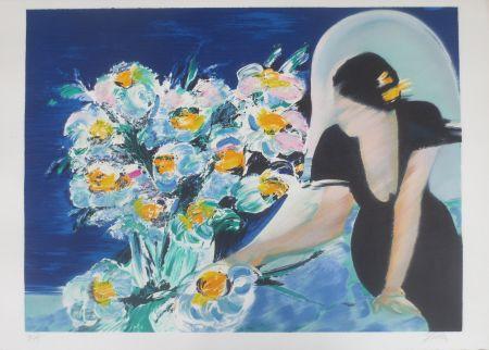 Lithograph Spahn - Elisabeth au bouquet