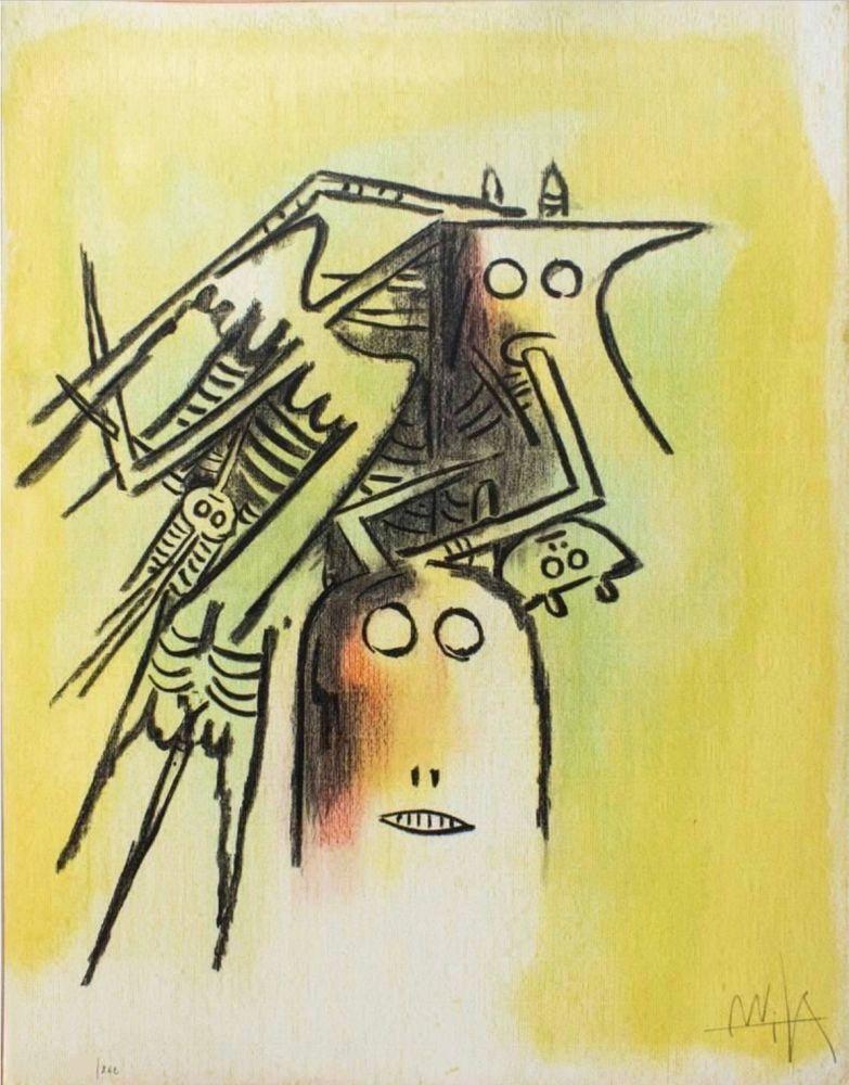 Lithograph Lam - Elle, casqué, from Pleni Luna