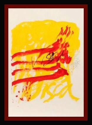 Lithograph Tapies - Els Mestres De Catalunya