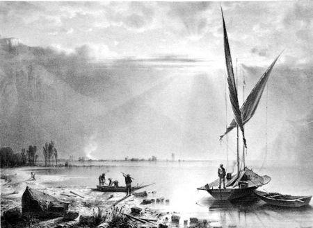 Lithograph Fontanesi - Embouchures du Rhone (Lac de Genève)