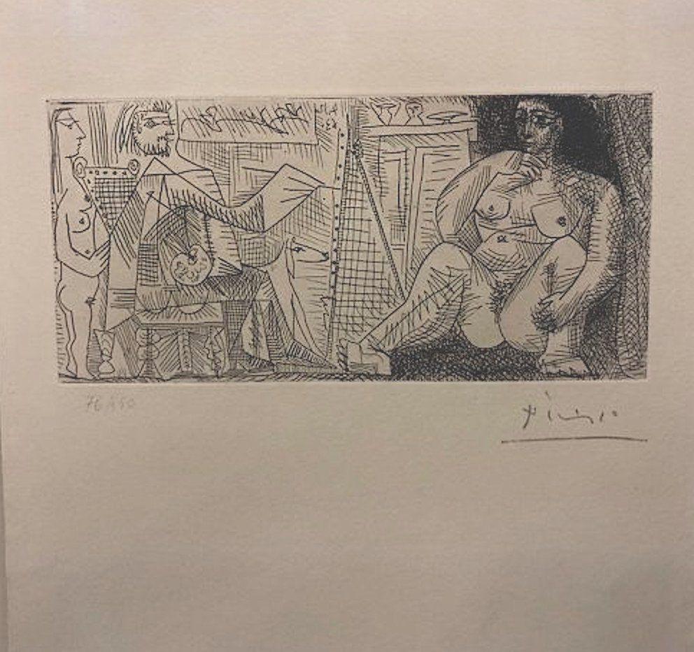 Engraving Picasso - En el atelier, pintor, modelo y espectador