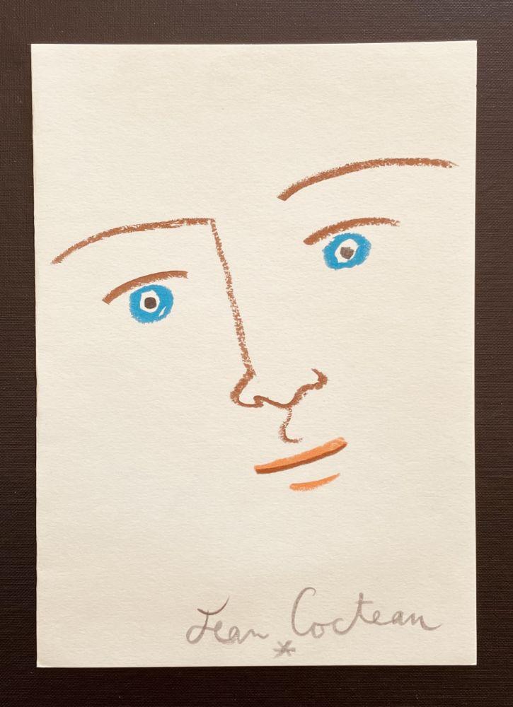 Lithograph Cocteau - En face yeux bleu