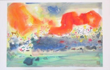 Lithograph Chu Teh Chun  - Encre orageuse