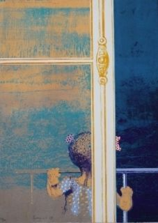 Screenprint Cremonini - Enfant à la fenêtre