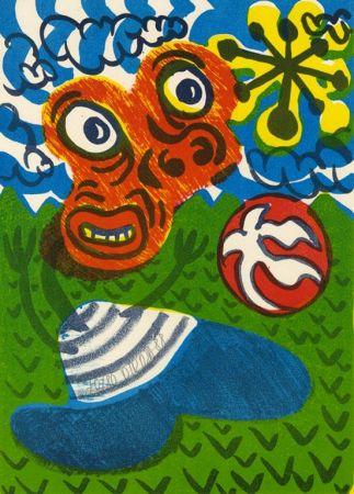 Lithograph Di Rosa - Enfant au ballon