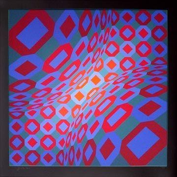 Screenprint Vasarely - Enigma 8
