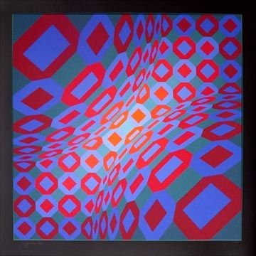 Screenprint Vasarely - Enigma 8