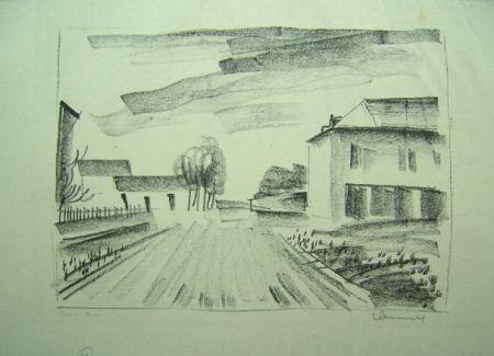 Lithograph Vlaminck - Entrée de Village