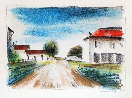 Lithograph Vlaminck - Entrée de Village II (La Route de Francheville)