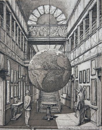 Etching And Aquatint Desmazières - Entrance Hall with a Globe