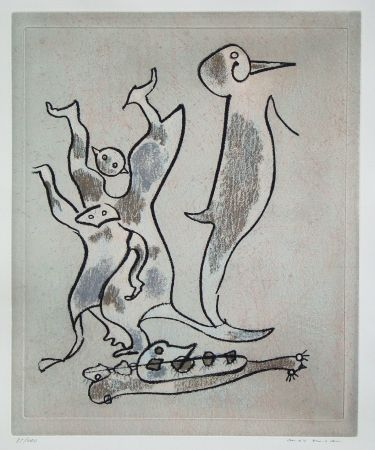Etching And Aquatint Ernst - Entre chiens et loups