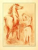 Lithograph Vertes - Equestrian Love