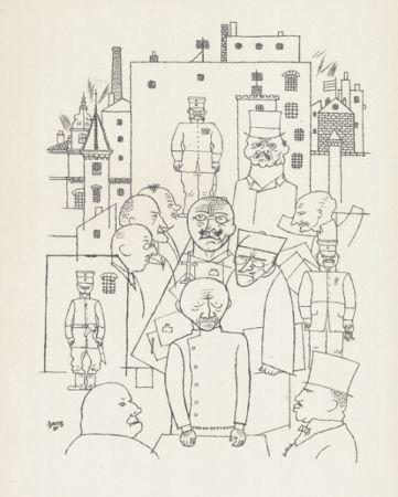 Lithograph Grosz - Er hat Hinderburg verspottet