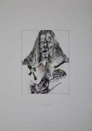 Lithograph Schwarz - Er ist tot (Hommage à Albrecht Dürer)