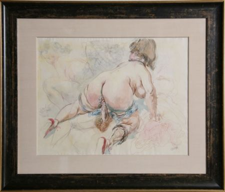 Lithograph Grosz - Erotic Drawing