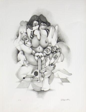 Lithograph Daboval - Erotica