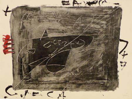 Etching Tapies - Esgrafiats sobre negre