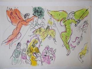 Lithograph Chagall - Esquise pour Morssorgsky et Mozart