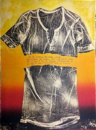 Lithograph Recalcati - Et le sourire du vide…(Placard Bailly). Version en rouge. Lithographie de 1975