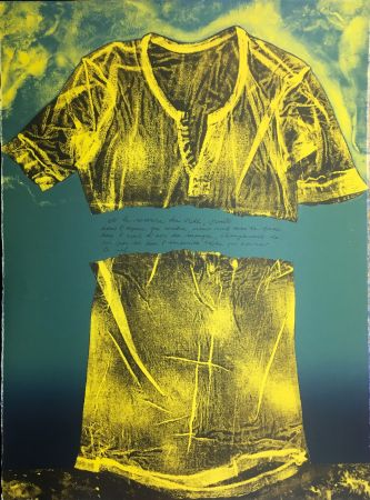 Lithograph Recalcati - Et le sourire du vide…(Placard Bailly). Version en vert. Lithographie de 1975