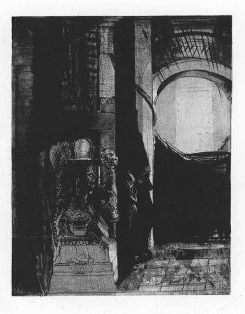 Lithograph Redon - Et partout ce sont des colonnes de basalte...