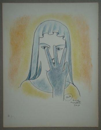Lithograph Cocteau - Etude - La vierge se cache le visage avec 3 doigts