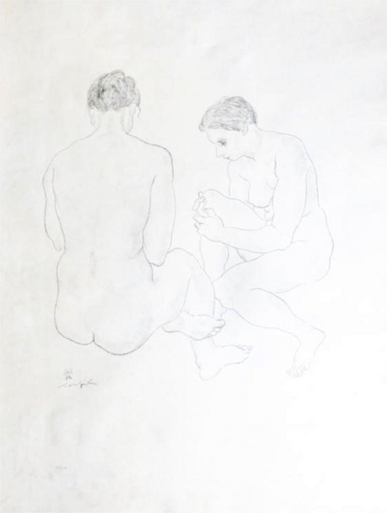 Lithograph Foujita - Etude de Nus