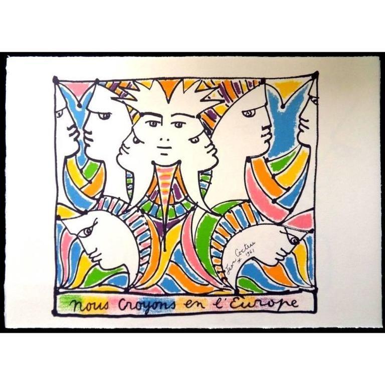 Lithograph Cocteau - Europe et le Monde