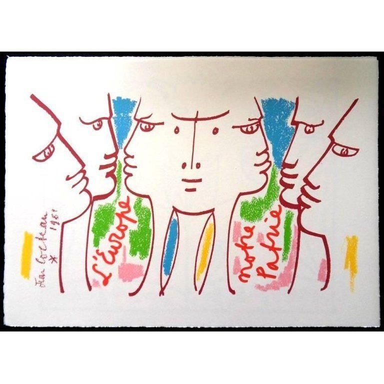 Lithograph Cocteau - Europe Notre Patrie