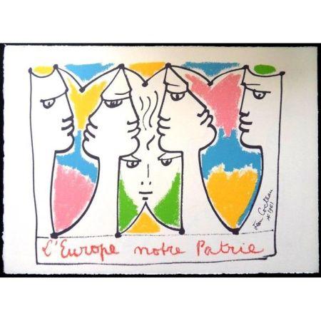 Lithograph Cocteau - Europe Pont pour les Civilisations