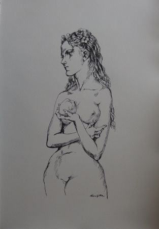 Lithograph Foujita - Eve à la pomme