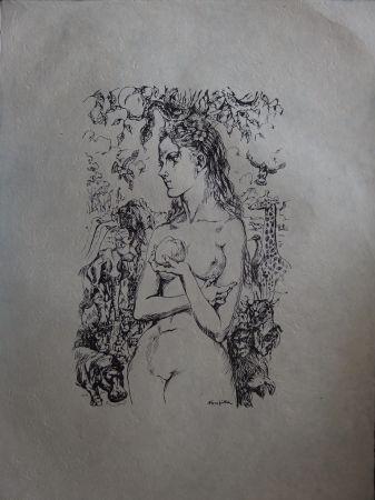Lithograph Foujita - Eve au Jardin d'Eden