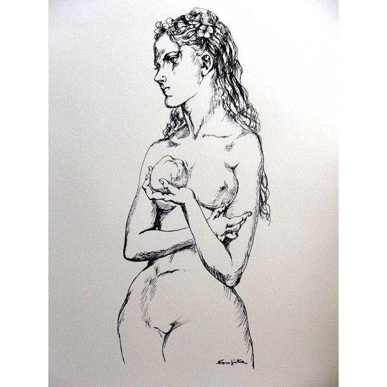 Lithograph Foujita - Eve et la Pomme