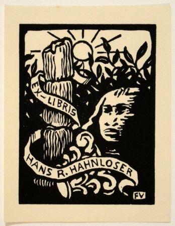 Woodcut Vallotton - Ex-Libris Hans R. Hahnloser