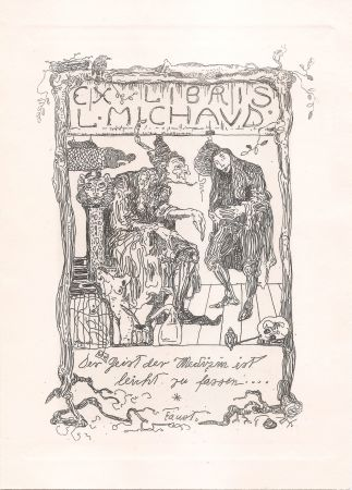 Etching Klee - Ex Libris L. Michaud