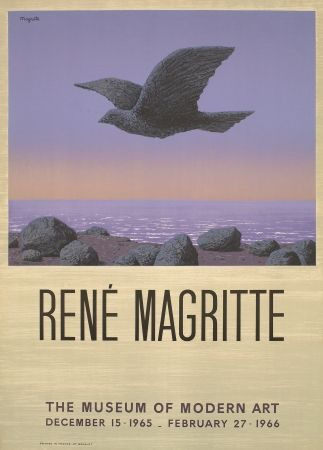 Lithograph Magritte - Exposition au MOMA